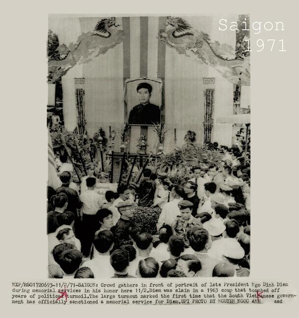 Lễ Truy Điệu Vinh Danh Cố Tổng Thống Ngô Đình Diệm được Tổ Chức Chính Thức Lần Đầu Tiên tại Sài Gòn 1971. Ảnh được ghi nhận qua ống kính của hãng UPI.