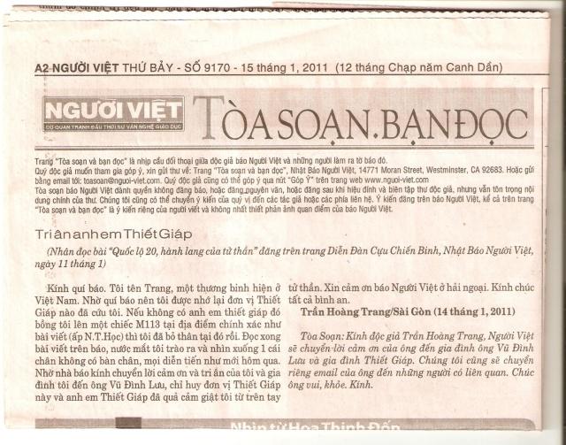 Thư của TPB Trần Hoàng Trang từ VN nhờ Nhật Báo Người Việt đăng sau khi đọc được bài viết này