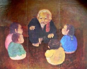 Ông cháu  (tranh của hoạ sĩ Văn Đen)
