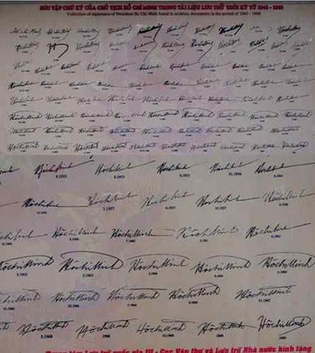 Chữ ký, tên gọi, bí danh, biệt danh, bút danh của Hồ Chí Minh. Nguồn: Hoa Nam.