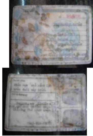 Mặt trước và mặt sau của thẻ căn cước