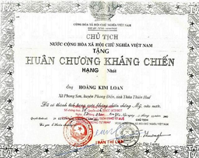 huan chuong cua Hoang Kim Loan