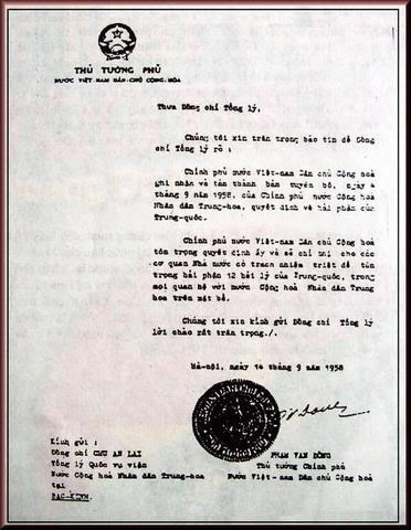 VC Phạm Văn Đồng ký công hàm bán nước ngày 14 tháng 9 năm 1958
