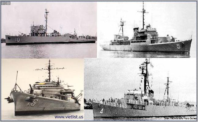 Bốn chiến hạm của quân lực Việt Nam Cộng Hòa đã tham dự trận hải chiến Hoàng Sa bảo vệ lãnh thổ vào năm 1974. Chiến hạm HQ-10 trúng đạn vào pháo tháp bị chìm tại trận, chiến hạm HQ-16 bị hư hại nặng nghiêng 15 độ, chiến hạm HQ-5 và HQ-4 bị hư nhẹ. Gần 50 thủy thủ và hạm trưởng Ngụy Văn Thà của HQ-10 tử vong. Ngoài ra HQ-5 có 3 quân nhân tử vong và 16 bị thương.