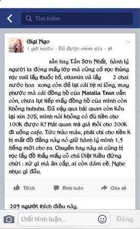 Gigi Ngo đăng tải dòng status hết sức phẫn uất về sự việc đã xảy ra tại sân bay Tân Sơn Nhất