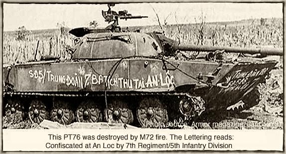 Xe tăng PT76 bị phá hủy tịch thu tại An Lộc. Hình Armor Magazine, Jan 1973