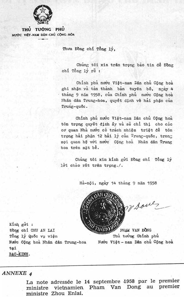 HÌNH ẢNH: Công hàm bán nước của thủ tướng VC Phạm văn Đồng