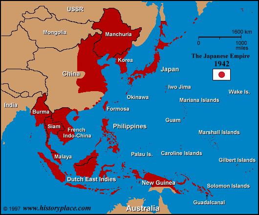 Bản đồ Đế quốc Nhật bản năm 1942.