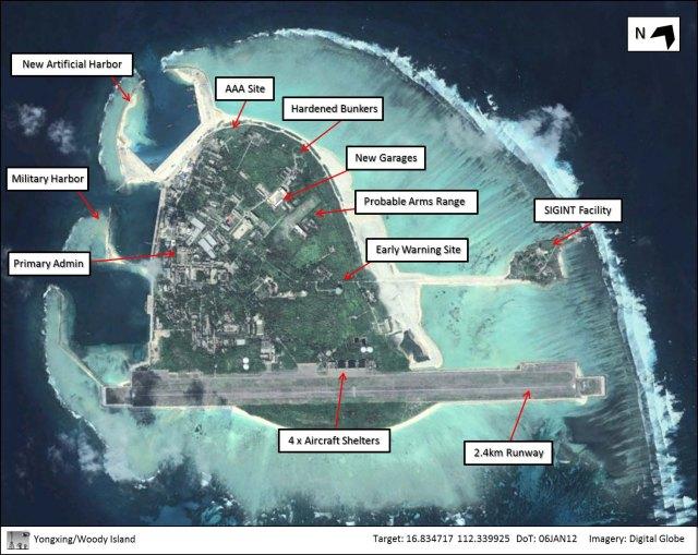 Đảo Phú Lâm (Woody Island – Yongxing Dao) nhìn từ vệ tinh)