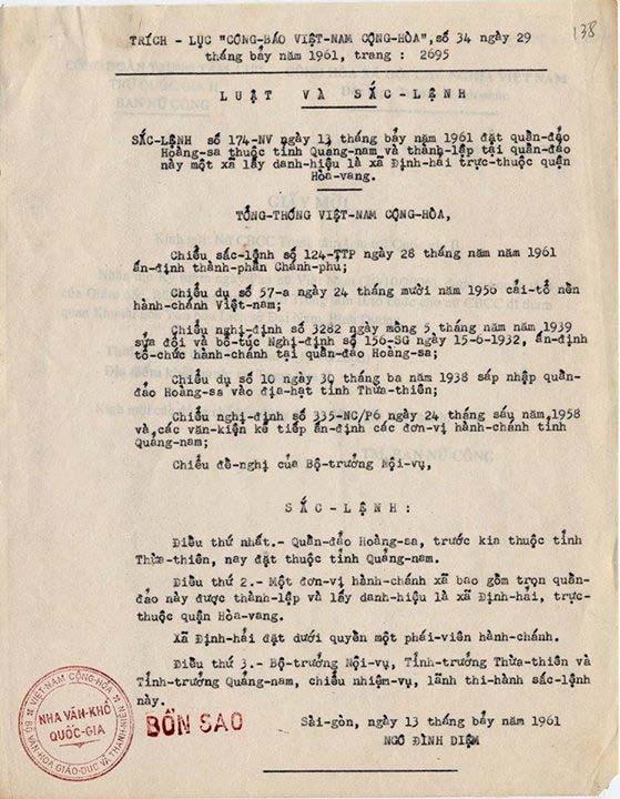 Sắc Lệnh ngày 13-7-1961 của TT Ngô Đình Diệm