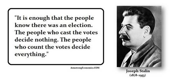 """Bầu cử kiểu cộng sản: Đã có bầu cử, nhân dân biết vậy là đủ. Người bỏ phiếu không quyết định gì cả. Người đếm phiếu quyết định mọi việc."""" Joseph Stalin(1878 - 1953)."""