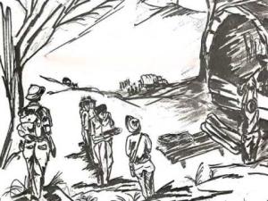 Xe bít bùng chở tù(Tranh bút chì về Tù Cải Tạo của Phạm Hữu Đản)