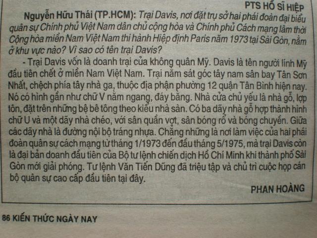 Câu hỏi về cái tên trại Davis trên trang báo Kiến Thức Ngày Nay.